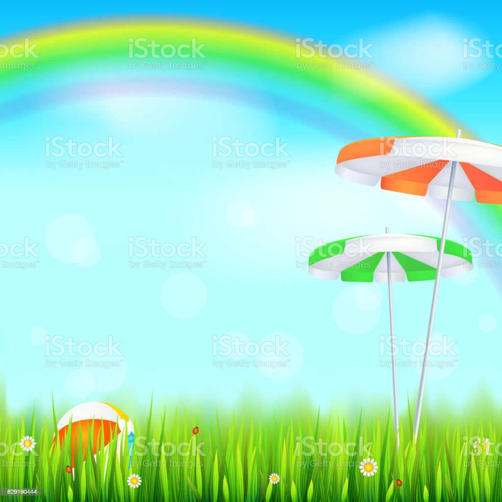 green grass blue sky flowers grassy field big bright rainbow above green field juicy grass daisy flowers summer background bright rainbow above green field grass