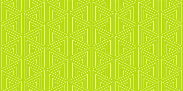 stockillustraties, clipart, cartoons en iconen met zomer achtergrond geometrische driehoek patroon naadloze citroen groen en wit. - green background