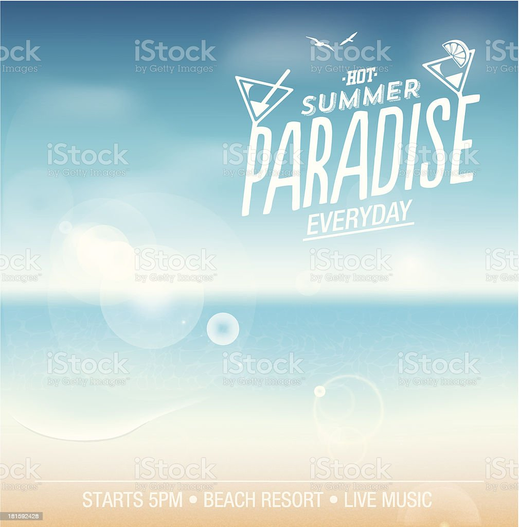 Summer background illustration – Beach, Sea, Sky, Lens flare royalty-free summer background illustration beach sea sky lens flare stock vector art & more images of art