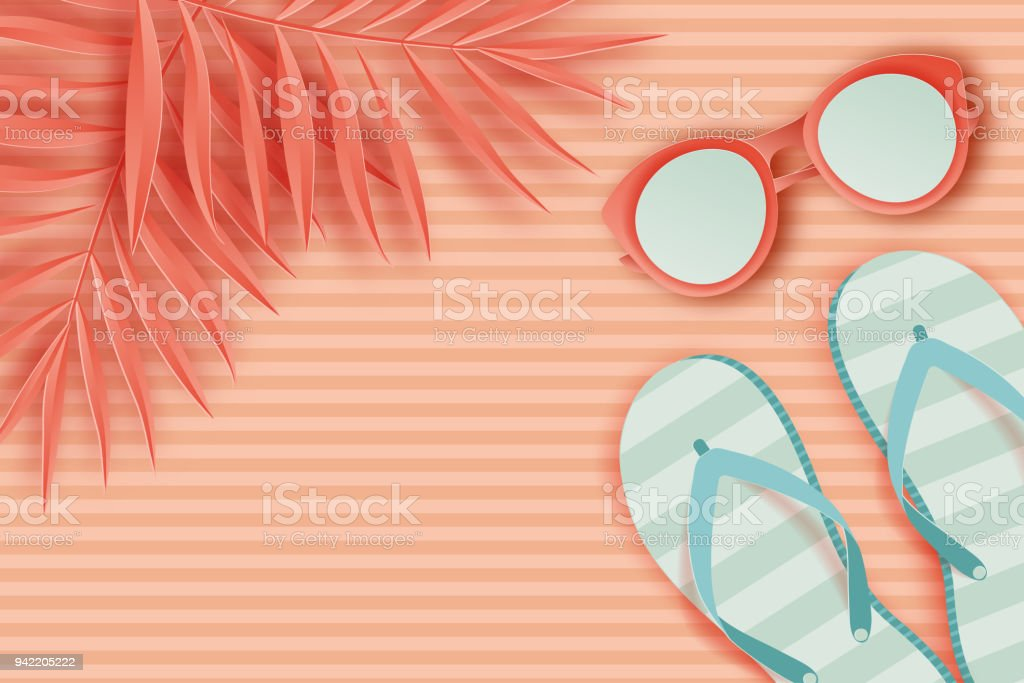 f7aa3f8a1 Summer background in pastel colors. Paper cut sunglasses, slippers, palm  leaf, striped beach towel. Summer vacation concept. Pastel colors -  Illustration .