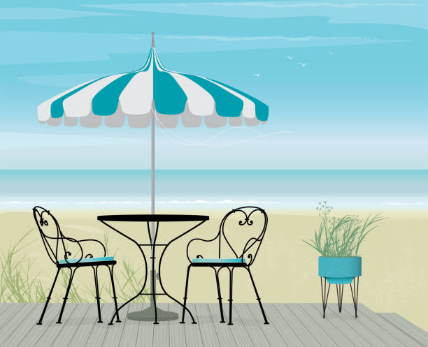 Summer background of Striped Teal Parasol and Bistro Table on Boardwalk Summer Scene Bistro Table and Pagoda Patio Umbrella on a breezy day at the beach. Boardwalk, sand and sea with flock of birds. Easy edit layered file. patio stock illustrations