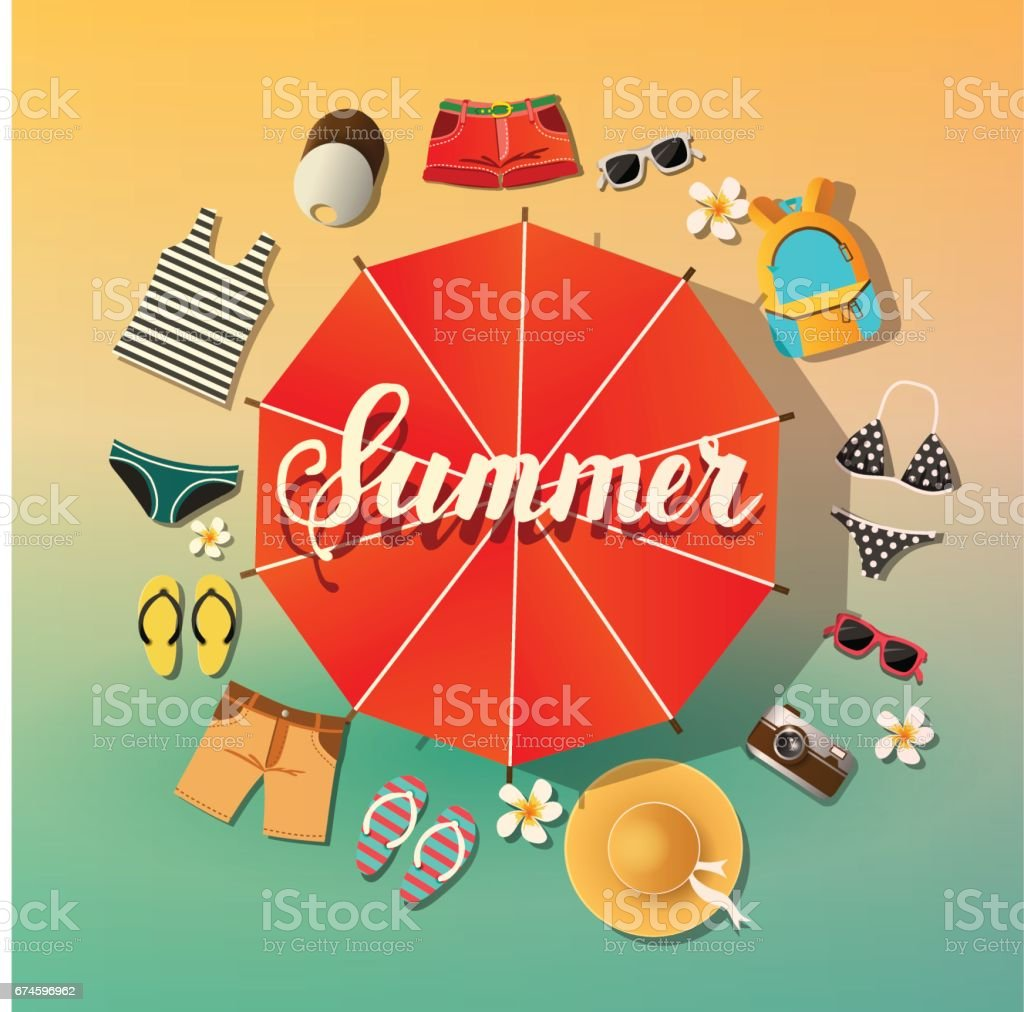 Summer background. Summer vector symbols are located around the umbrella from the sun Beach and sea. Lettering vector art illustration