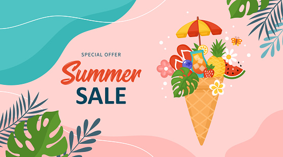 Summer background template for social media, banner or poster design. Ice cream waffle cone and summer elements creative concept.