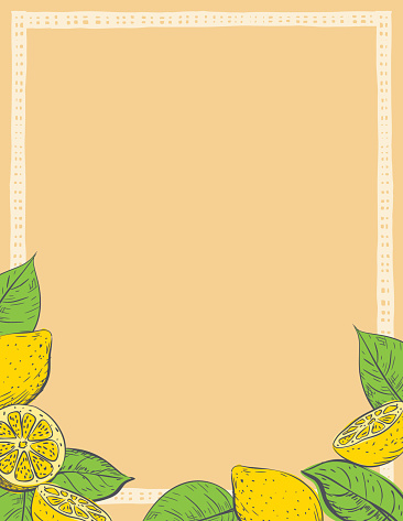 Summer Background Template With Lemons And Leaves