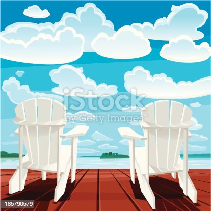 Two white Muskoka chairs on the deck. Summer time. Vector. EPS 8.