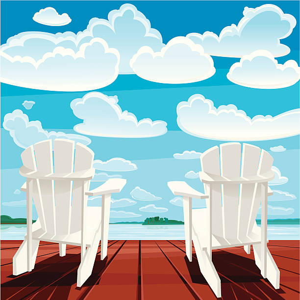 Summer Background (Muskoka Chairs) Two white Muskoka chairs on the deck. Summer time. Vector. EPS 8. muskoka stock illustrations