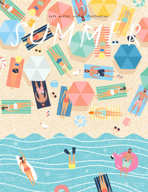 Summer background. Vector illustration of sunbathing people on the beach and swimming in the sea. Drawing by hand the summer holiday season, rest, relaxation and summer. vector art illustration