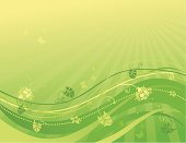 Sunny background with flowers and butterflies in green design