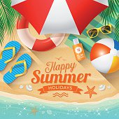 "Summer Background with beach summer accessories and text ""Happy Summer Holidays"""