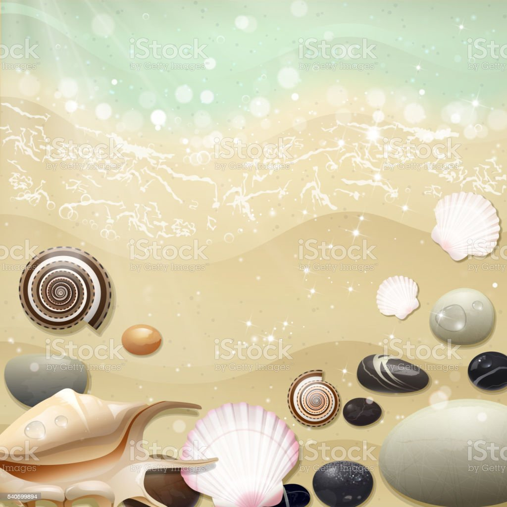 Summer Background with Beach Sand and Sea vector art illustration