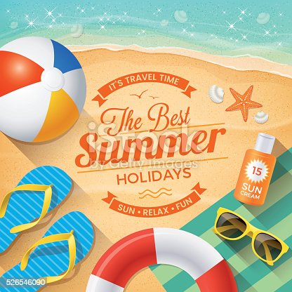 """Summer Background with beach summer accessories and text """"The Best Summer Holidays"""