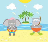 Summer background with  elephant and hippopotamus on the beach