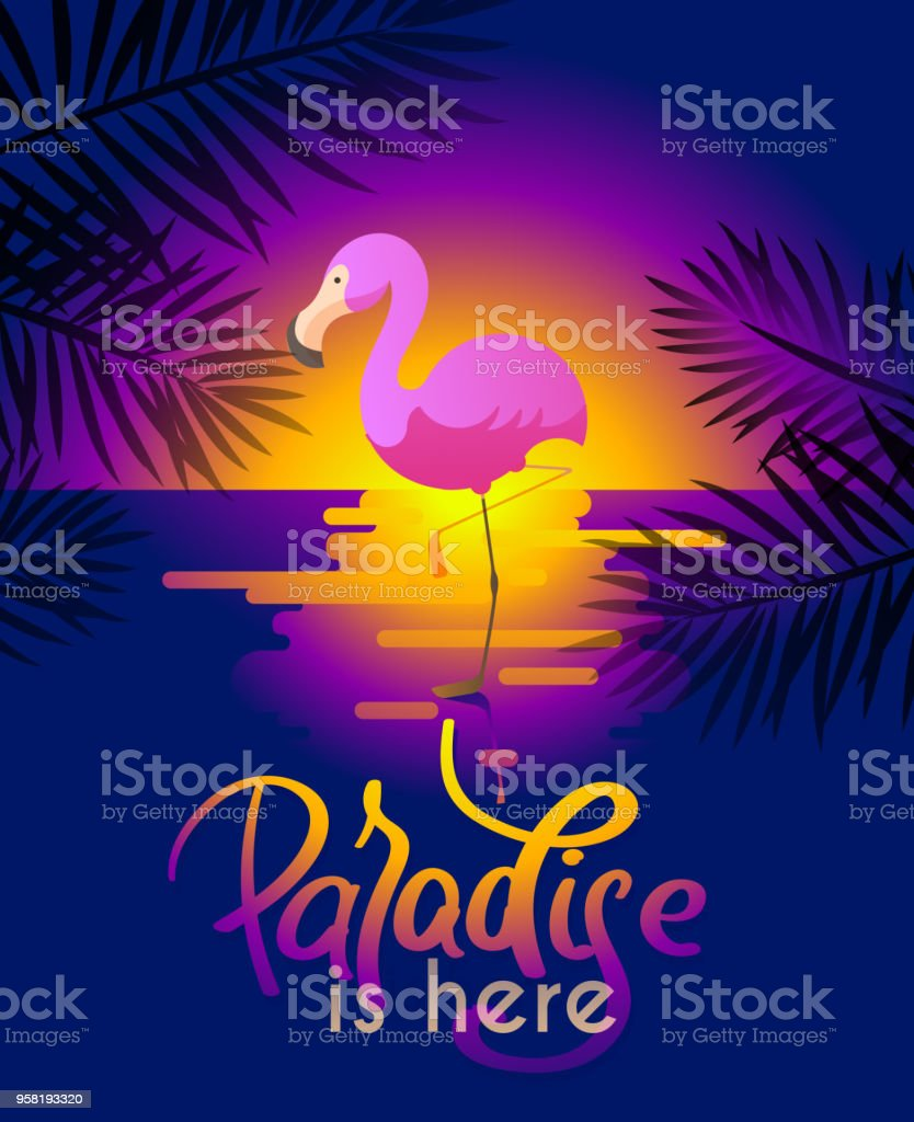 summer background with flamingo for your design vector art illustration