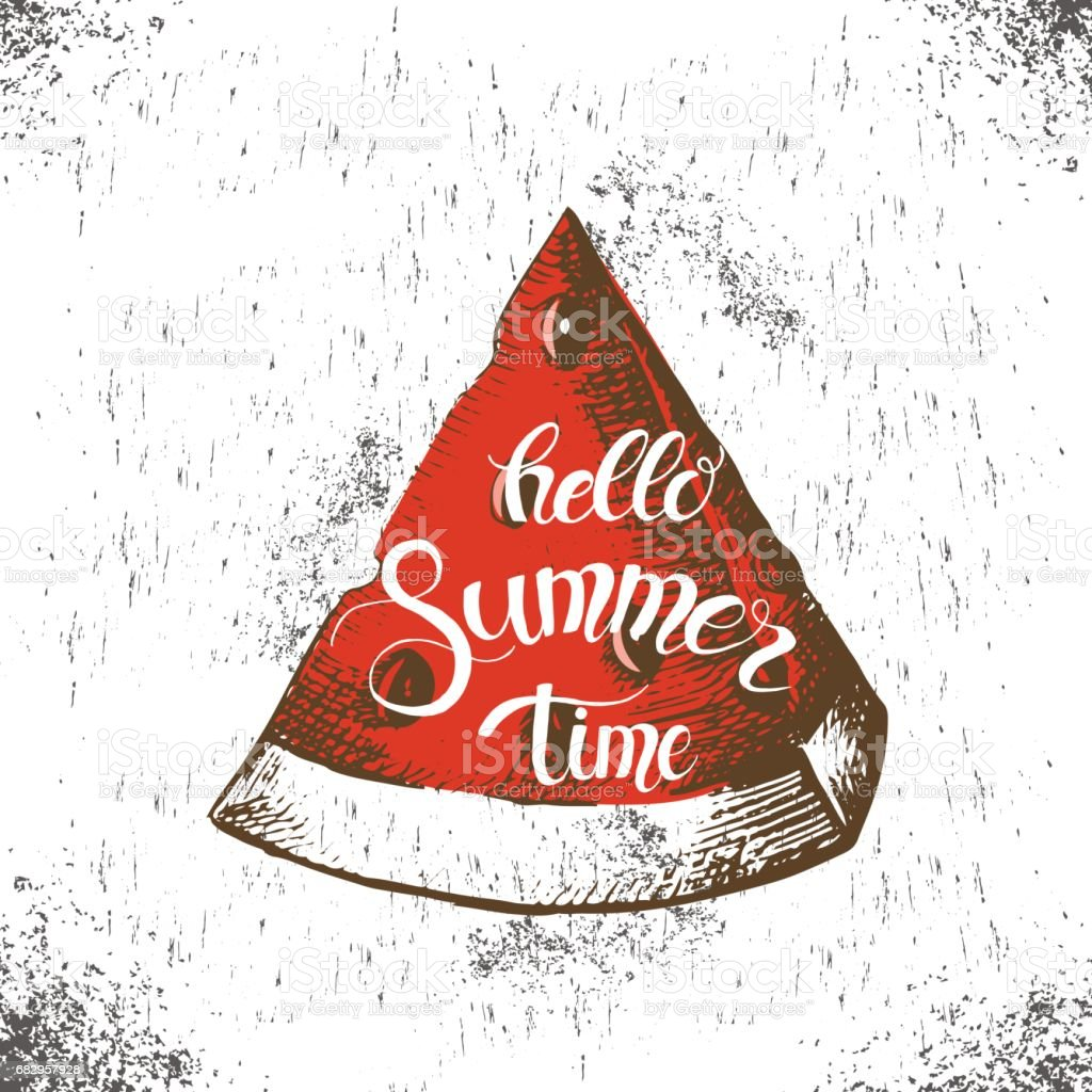 Summer background with hand drawn slice of watermelon and trendy hand made quote 'hello Summer time' royalty-free summer background with hand drawn slice of watermelon and trendy hand made quote hello summer time stock vector art & more images of abstract