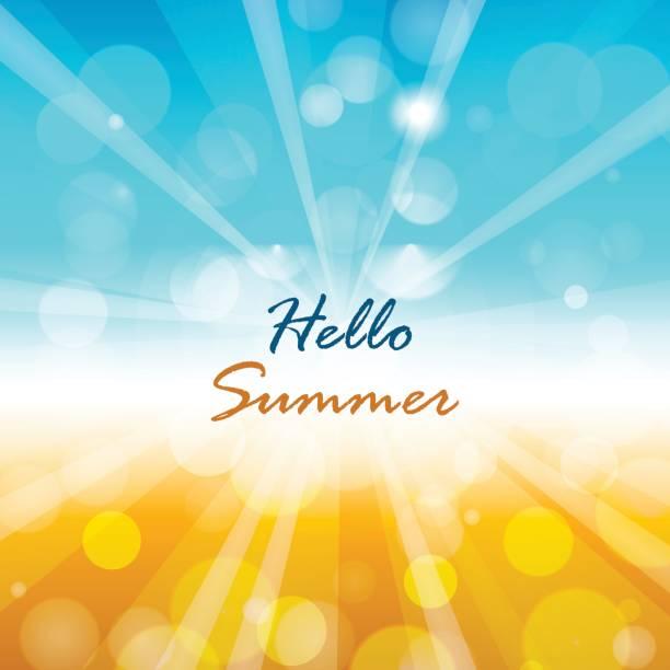 ilustraciones, imágenes clip art, dibujos animados e iconos de stock de fondo de verano con texto de verano hola - verano
