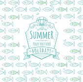 Summer seamless fish pattern with label. Pattern and label are grouped and layered separately.