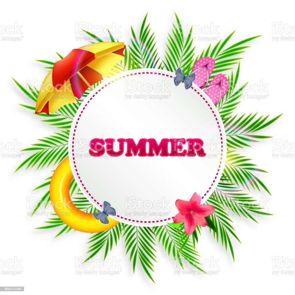Fond de l'été avec des feuilles de palmier, parasol et pantoufles - clipart vectoriel de Allemagne libre de droits