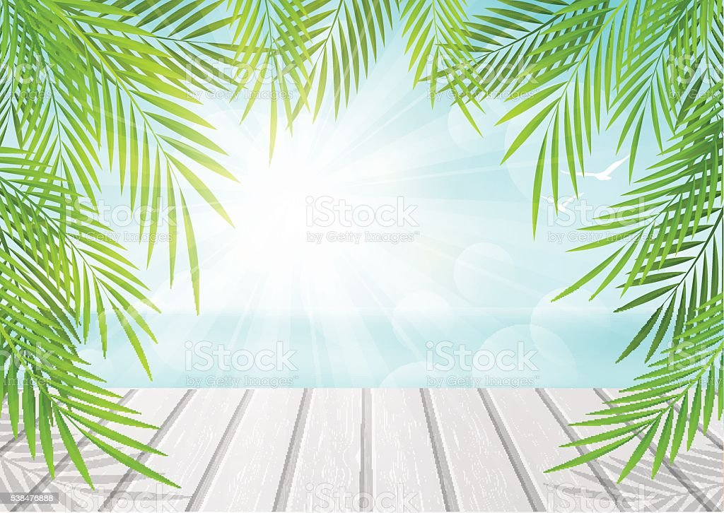 summer background with palm leaves stock vector art more images of