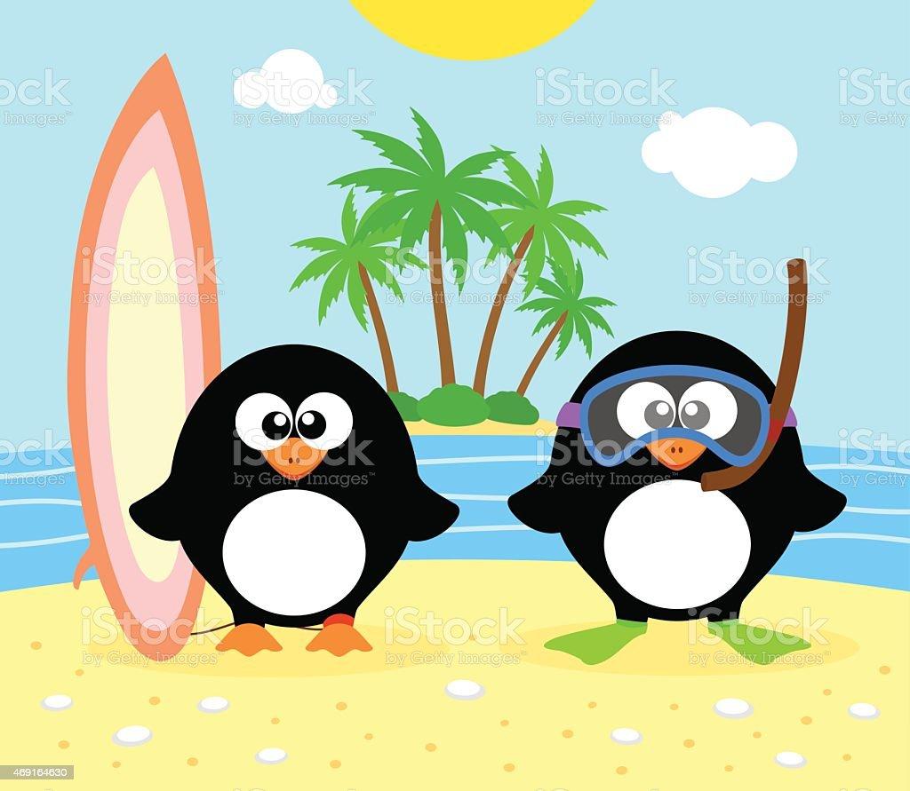 Summer background with penguin vector art illustration
