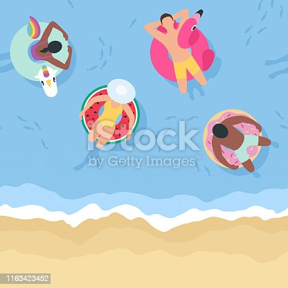 istock Summer Background with People Relaxing on Inflatables (Seamless Horizontally) 1163423452