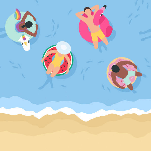 Summer Background with People Relaxing on Inflatables (Seamless Horizontally) This illustration of people relaxing on inflatables repeats seamlessly horizontally, making it an ideal background for your summer design project. The illustrator 10 vector file can be coloured and customized to suit your needs and scaled infinitely without any loss of quality. floating on water stock illustrations