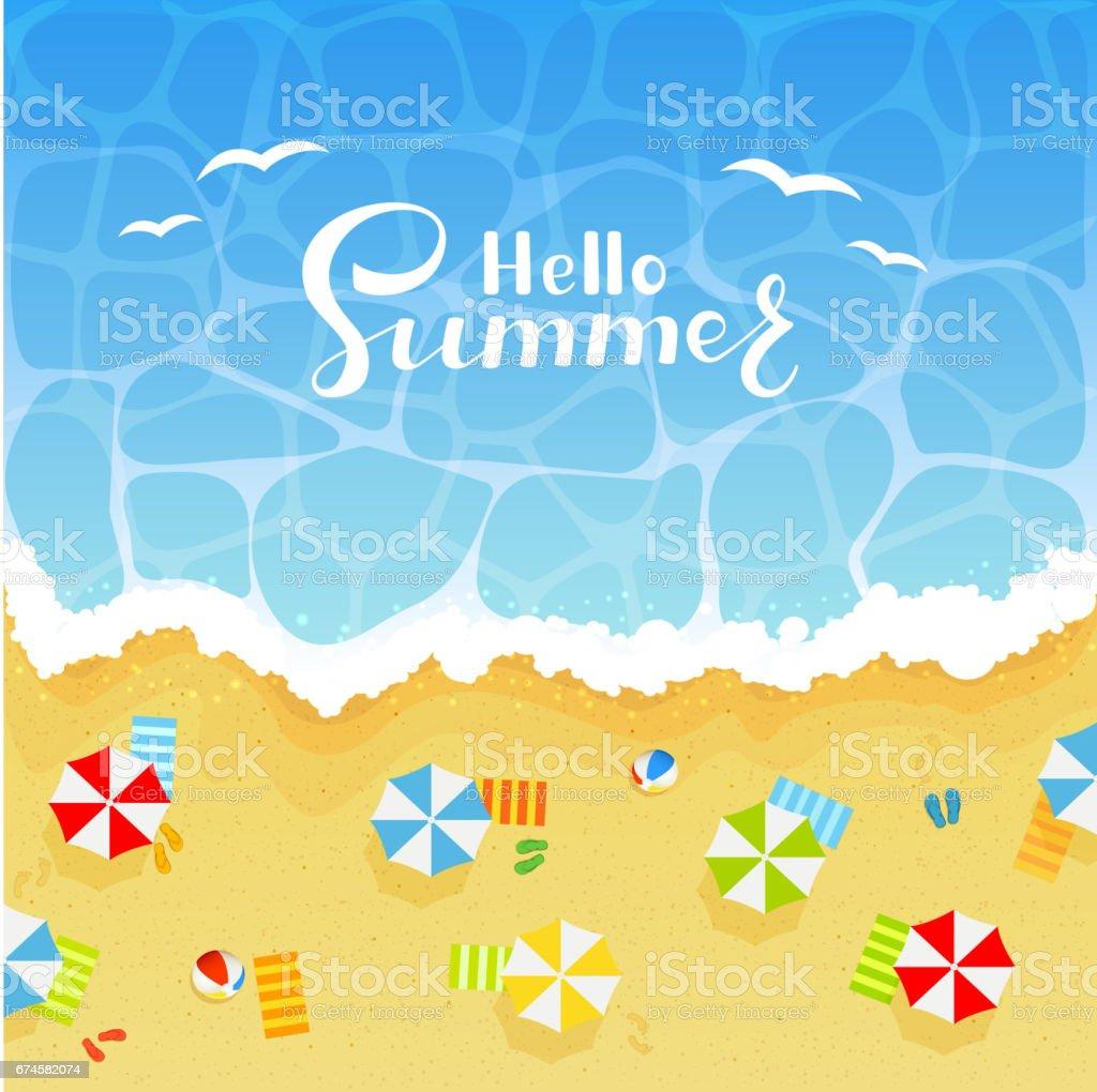 Summer background with sandy beach - ilustração de arte em vetor