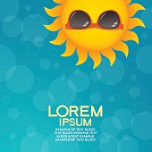 Summer background with sun glasses and text