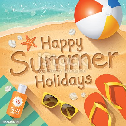 Summer Background With Text On Sand Happy Holidays Stock Vector Art 533069794