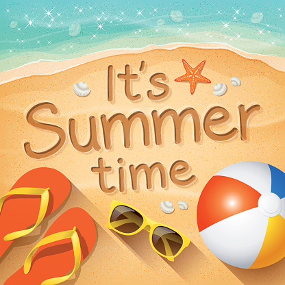 """Summer Background with text on sand """"It's Summer time"""""""
