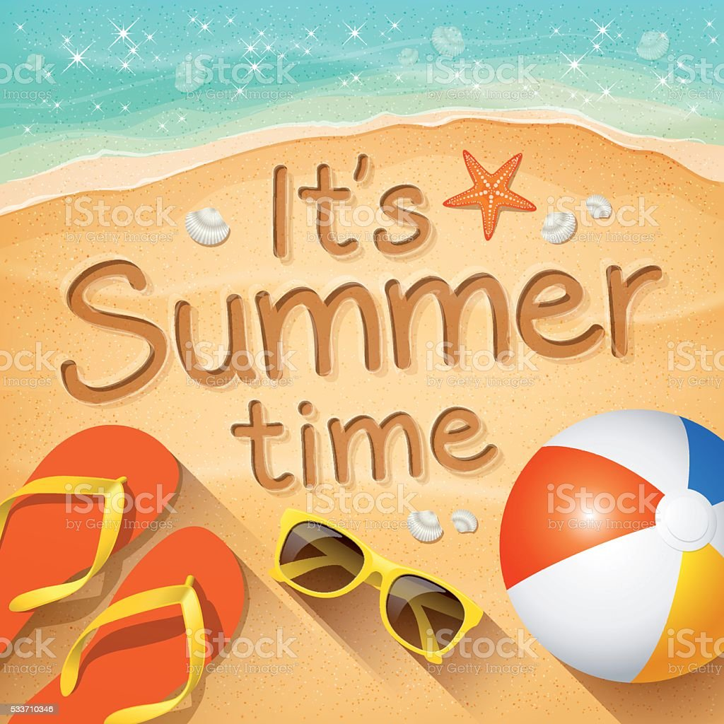 "Summer Background with text on sand ""It's Summer time"" vector art illustration"