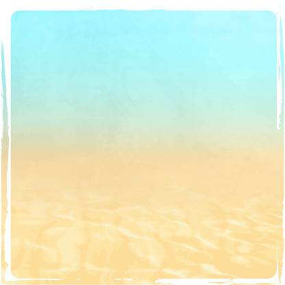 Summer background with water ripples, sand and blue sky in retro style - abstract beach texture