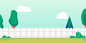 istock Summer backyard background banner with fence and lawn flat vector illustration. 1281094006