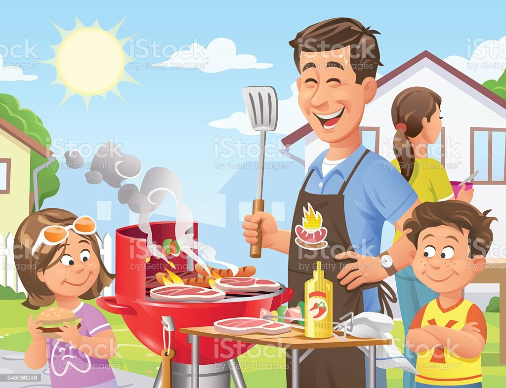 Summer Backyard Barbecue vector art illustration
