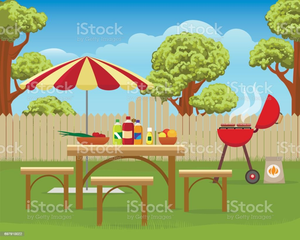 Summer backyard fun bbq vector art illustration