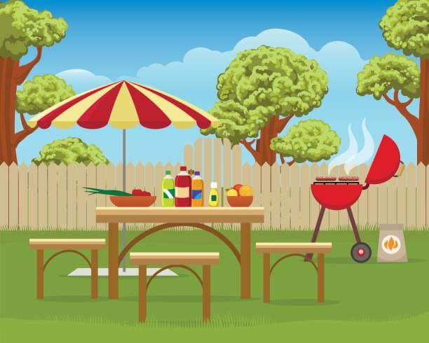ilustraciones, imágenes clip art, dibujos animados e iconos de stock de patio de verano divertido bbq - fiesta en el jardín