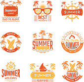 Summer badges. Travel labels and logos palm tree drinks sun vacation tropical vector symbols. Illustration of summer holiday badge, palm tree and beach
