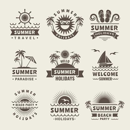 Summer badges. Vector monochrome labels of summer time. Tropical illustrations