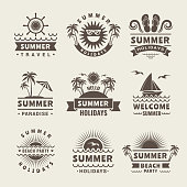 Summer badges. Vector monochrome labels of summer time. Tropical illustrations travel logo, beach sea paradise, holiday and journey