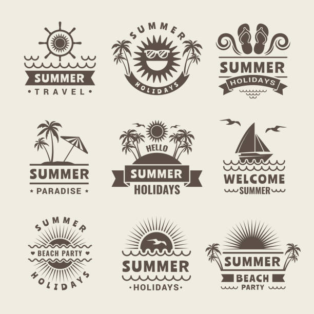 Summer badges. Vector monochrome labels of summer time. Tropical illustrations Summer badges. Vector monochrome labels of summer time. Tropical illustrations travel logo, beach sea paradise, holiday and journey beach icons stock illustrations