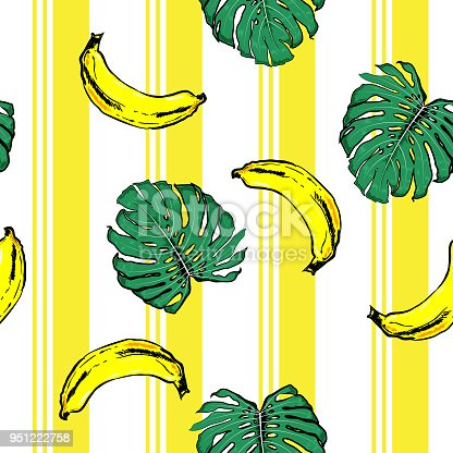 Summer banana and plam leves on resort stripe  seamless pattern ,vector fot fashion fabric and all prints wallpaper