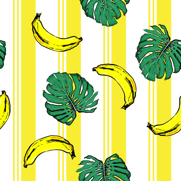 summer banana and plam leves on resort stripe  seamless pattern ,vector fot fashion fabric and all prints wallpaper - summer fashion stock illustrations, clip art, cartoons, & icons