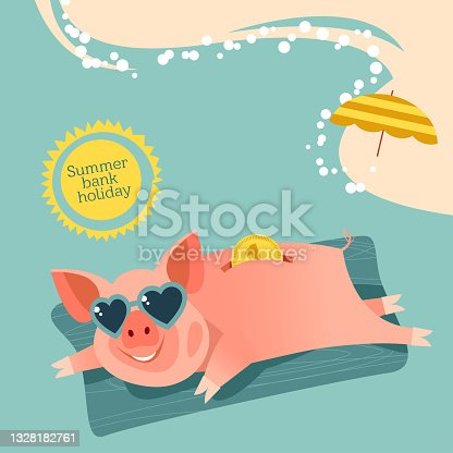 Summer bank holiday. Piggy bank in sunglasses resting on an inflatable beach mattress on the sea.