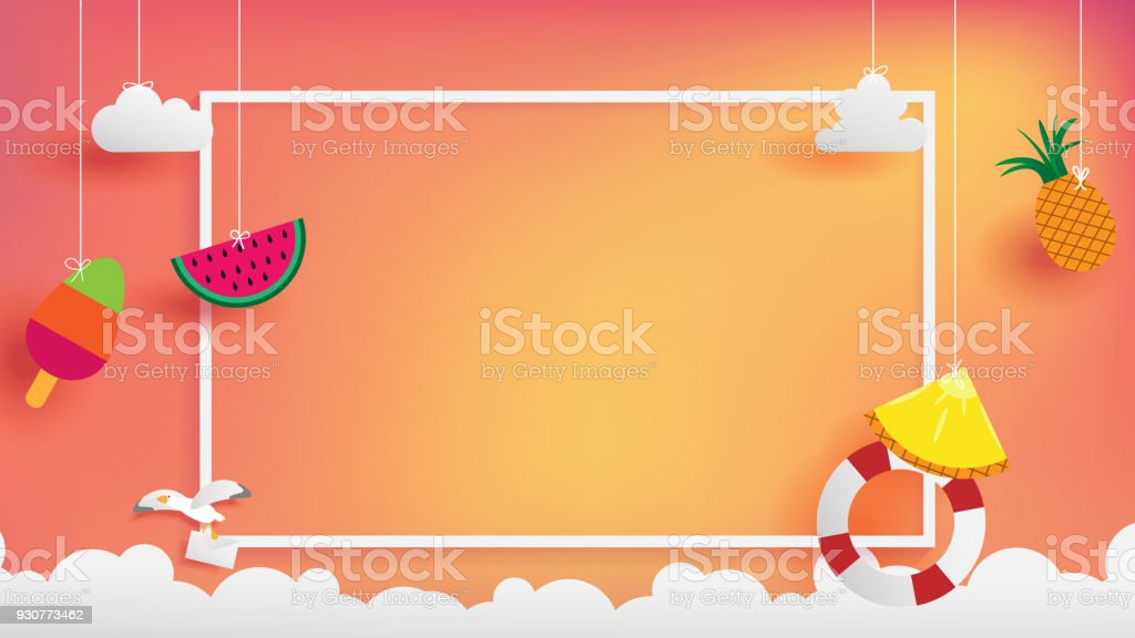 summer banner as horizontal frame