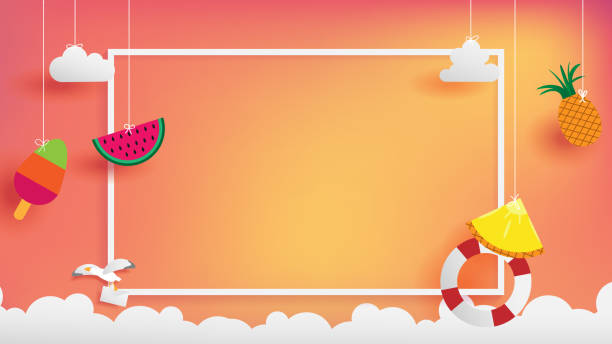summer banner as horizontal frame summer banner as horizontal frame contain white border ,sunset light shining on background and all objects floating over cloud, objects are hanging by string such as ice creme, pineapple  watermelon summer stock illustrations