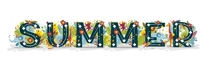 Summer banner, beautiful tropical colorful word, illustration isolated on white background. Cartoon flat style. Lettering with exotic animals, flowers, herbs, leaves. Vector illustration for baby prints t-shirts.