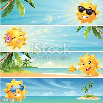 istock Summer Banner Cartoon Sun with Tropical Beach Background wearing Sunglasses 482675361