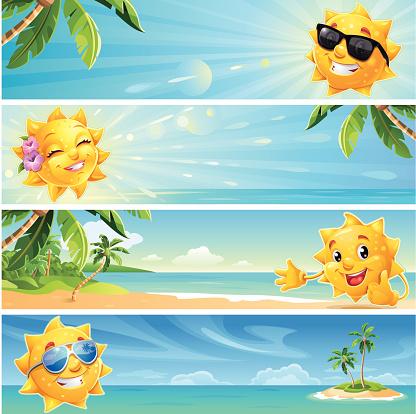 Summer Banner Cartoon Sun with Tropical Beach Background wearing Sunglasses