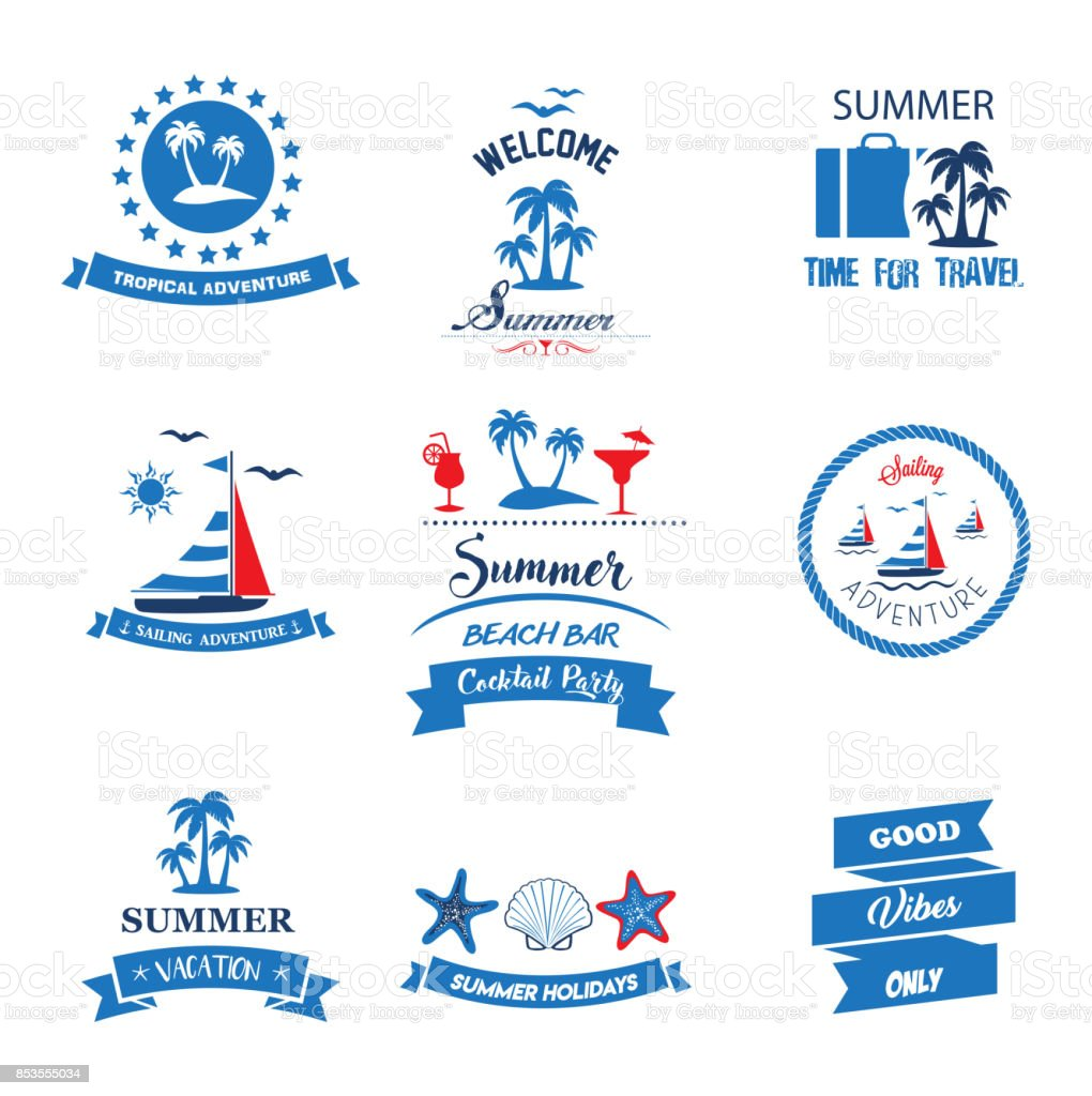 Summer Banner Collection vector art illustration