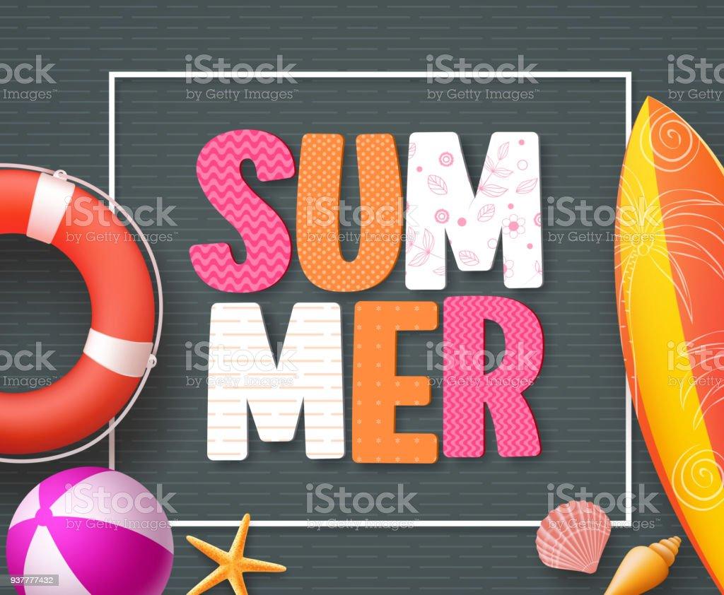 Modèle de conception de bannière de l'été avec des éléments de texte et de la plage l'été coloré 3D - Illustration vectorielle