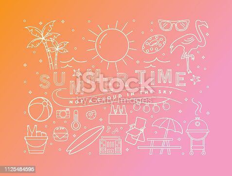 Vector illustration of a summer banner design template. Includes summer party elements, text that reads Summer time not a cloud in the sky. Lot's of outlined icons. Bright colors. Fully editable.